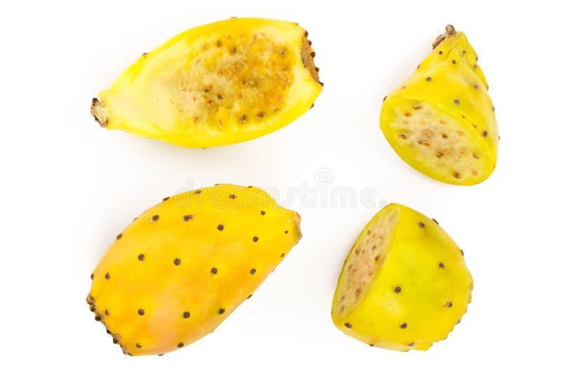 Gult taggigt päron eller opuntia som isoleras på en vit bakgrund Top beskådar Lekmanna- lägenhet royaltyfria foton