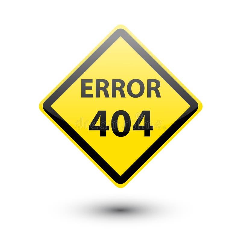 Gult tecken för FEL 404 stock illustrationer