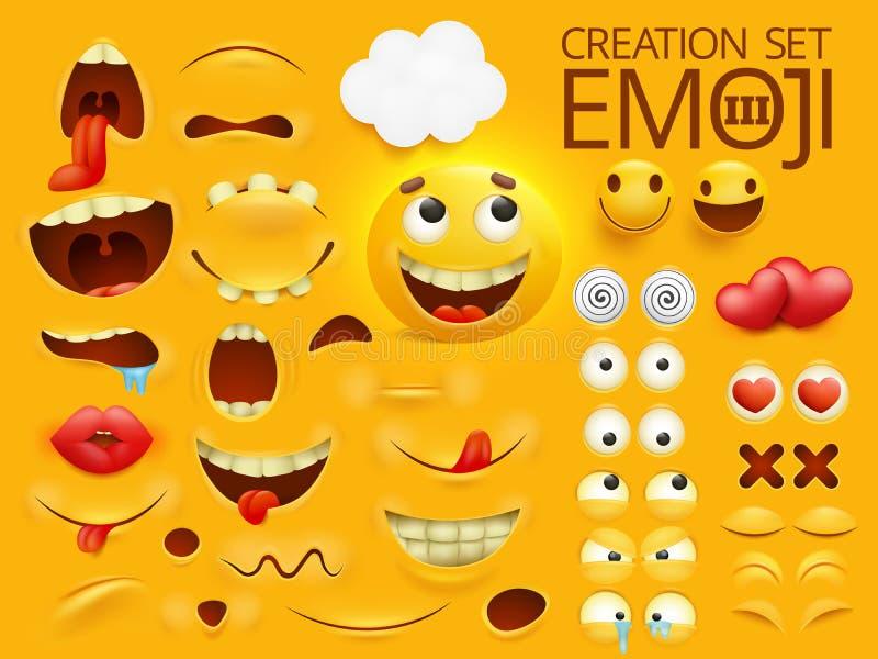 Gult tecken för smileyframsidaemoji för din platsmall Stor samling för sinnesrörelse stock illustrationer