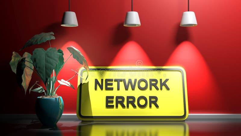 Gult tecken NETWORK-FEL, lutning vid en röd belyst vägg - 3D-återgivningsbild vektor illustrationer