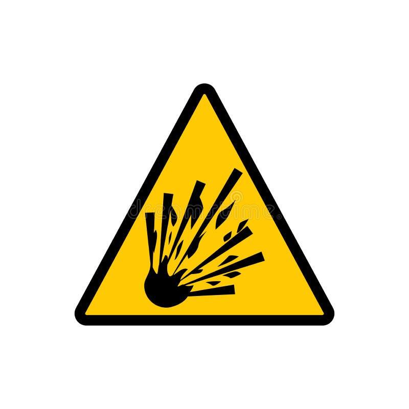 Gult triangelsprängmedeltecken Tecken för vektor för varningsfara explosivt vektor illustrationer