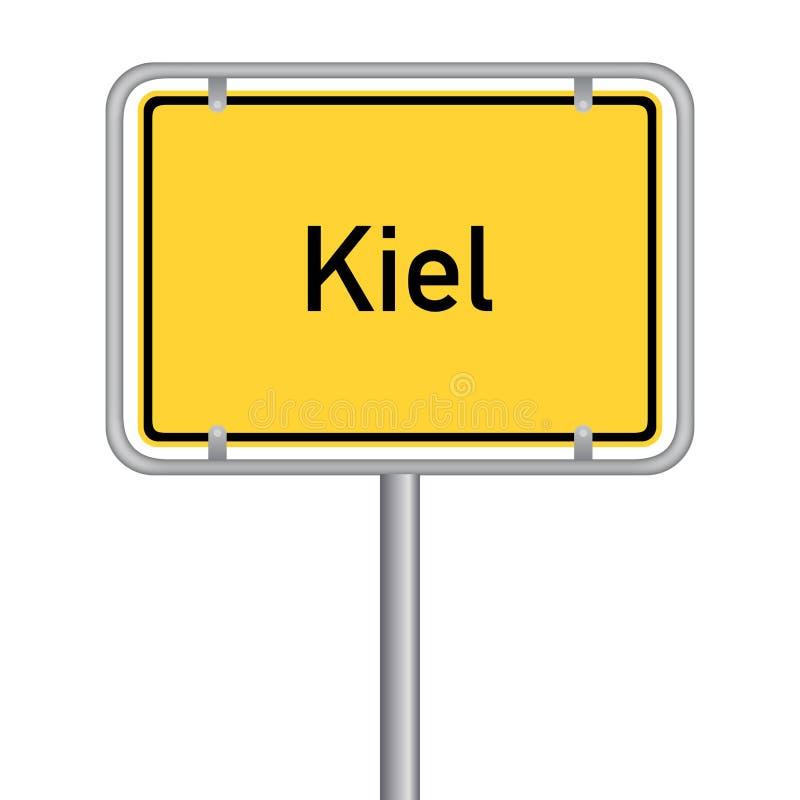 Gult tyskt gatatecken - Landeshauptstadt Kiel royaltyfria foton