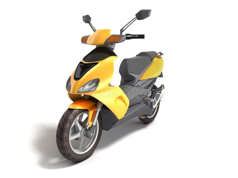Gult varit nedstämd sparkcykeltransporthjul 3d att framföra på vit stock illustrationer
