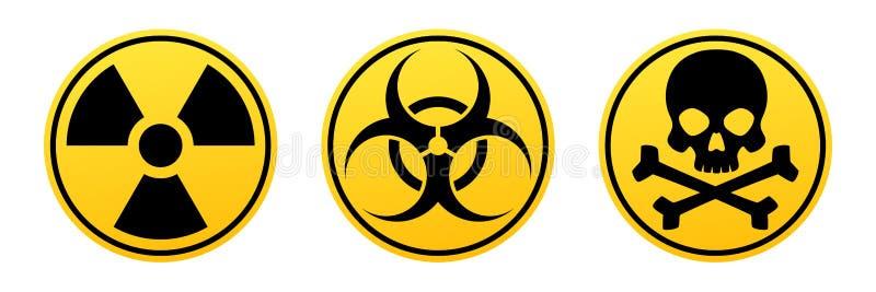 Gult vektortecken för fara Utstrålningstecken, Biohazardtecken, giftligt tecken royaltyfri illustrationer