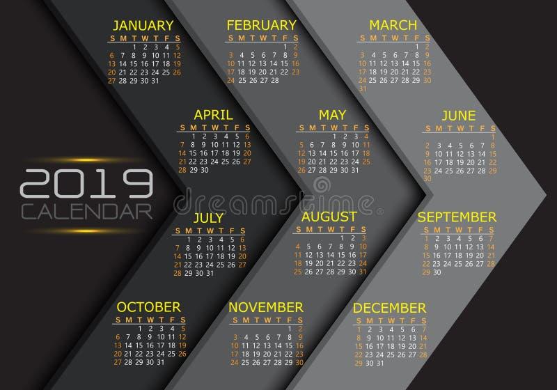 Gult vitt textnummer för kalender 2019 på modern futuristisk vektor för grå design för signalpilbakgrund royaltyfri illustrationer