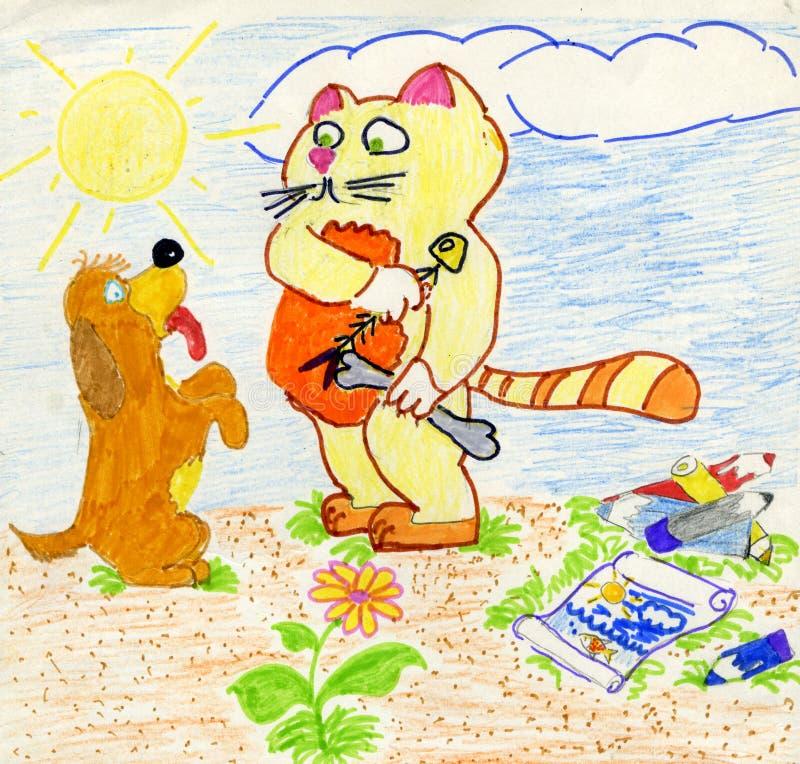 Gulzige kat en naïeve hond stock illustratie