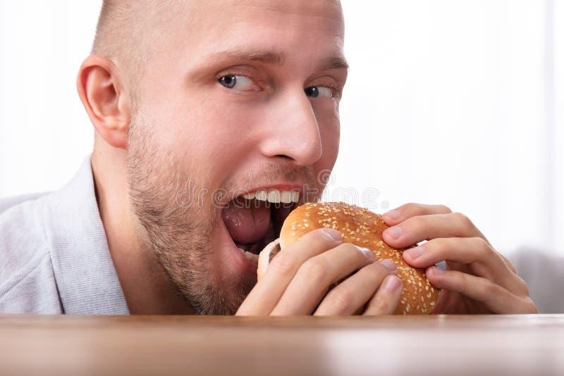 Gulzige Mens die Hamburger eten royalty-vrije stock foto