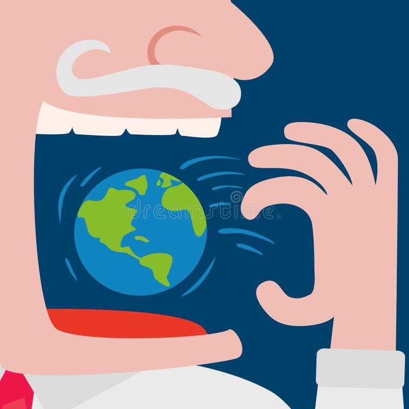 Gulzige zakenman die de wereldplaneet eten royalty-vrije illustratie