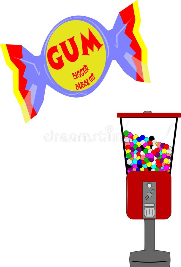 Gum. Wrapped gum as well as bubble gum machine from the fifties era vector illustration