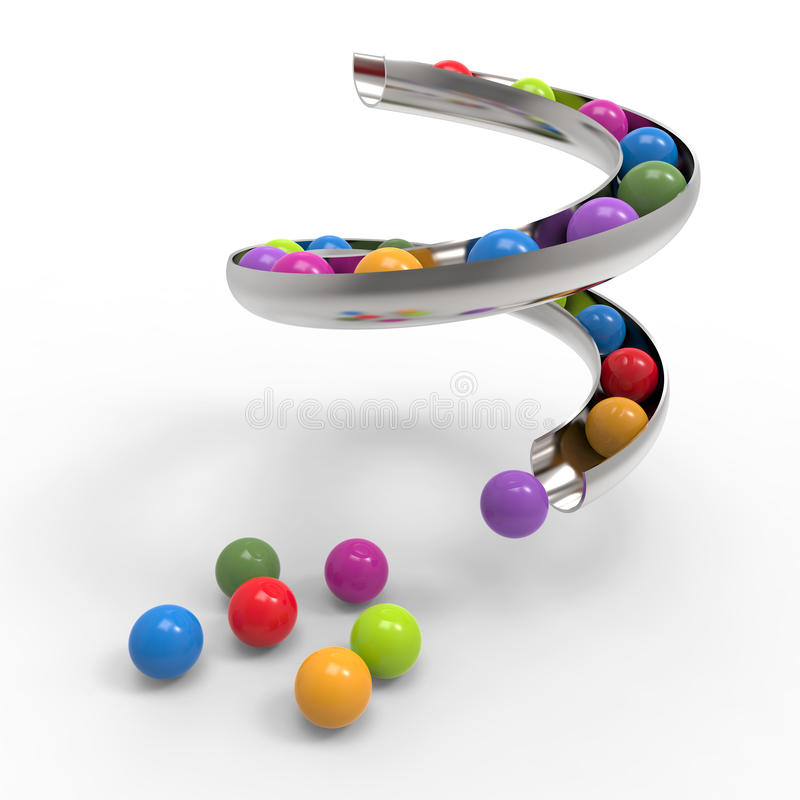 Gum ball. Rolling down the slides royalty free illustration