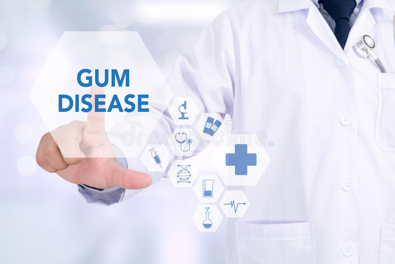 GUM DISEASE Medical concept Doctor. Medicine doctor working with computer interface as medical royalty free stock images