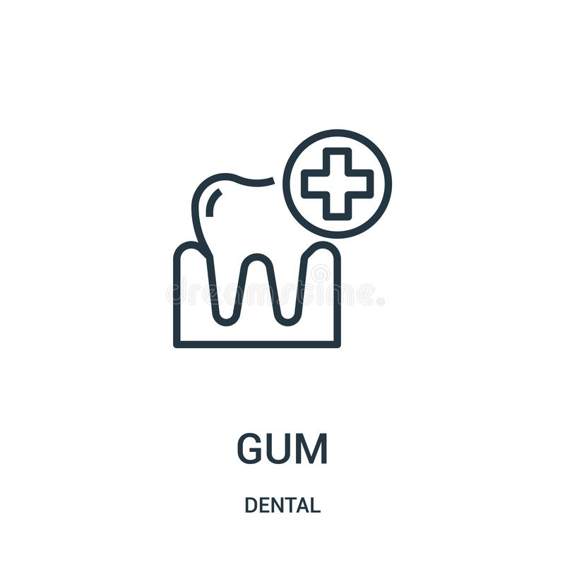 Gum icon vector from dental collection. Thin line gum outline icon vector illustration. Linear symbol. For use on web and mobile apps, logo, print media stock illustration