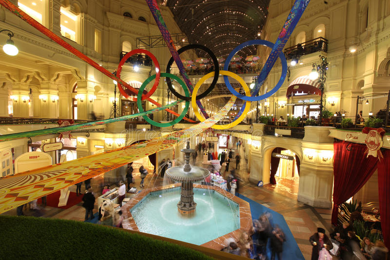 Download GUM Store In Olympic Rings On XXII Olympic And X Editorial Photo - Image: 37960801