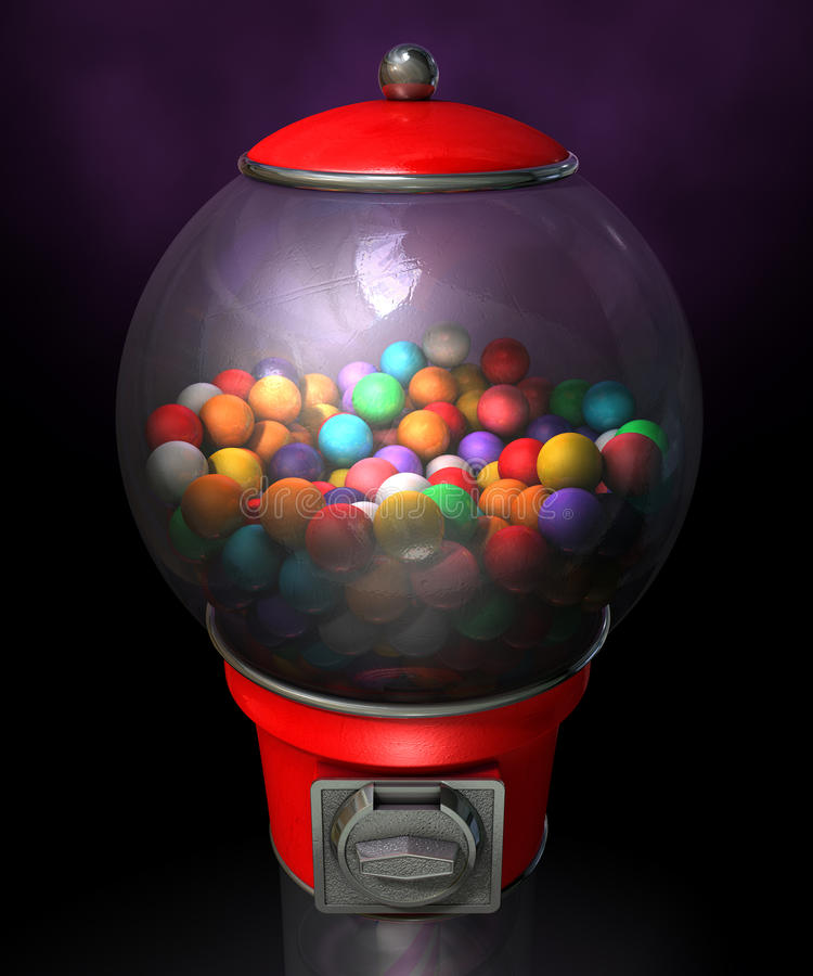 Gumball Dispensing Machine Dark. A regular red vintage gumball dispenser machine made of glass and reflective plastic with chrome trim filled with multicolored royalty free stock image