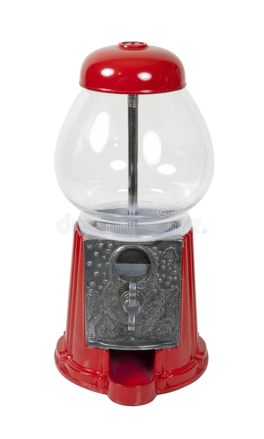 Gumball Machine. Vintage metal and glass gumball machine - path included stock photo