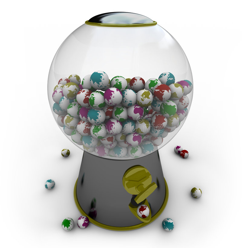 Gumball Machine Filled with Small Earths. A gumball machine is filled with small Earths of different colors stock illustration