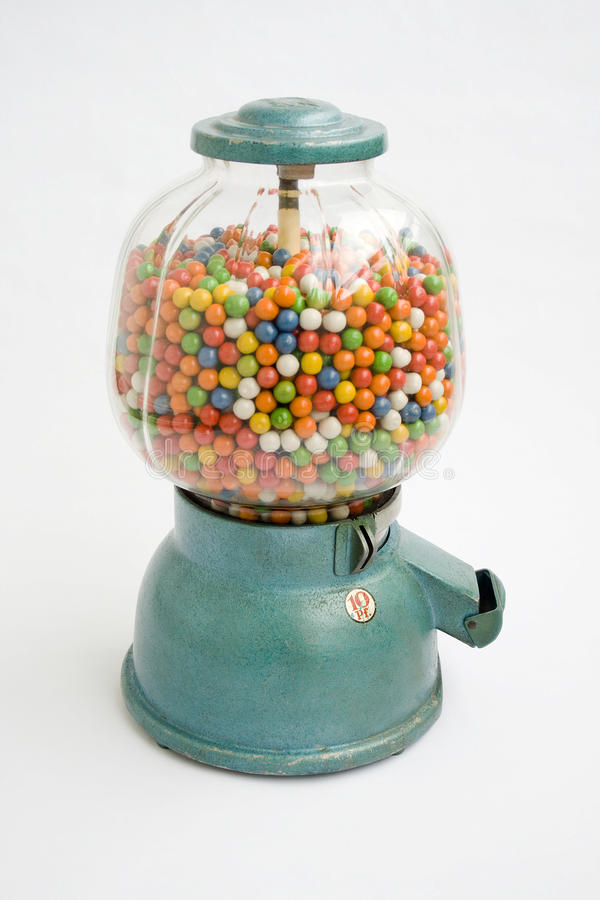 Gumball machine from an old store in 1950 stock image