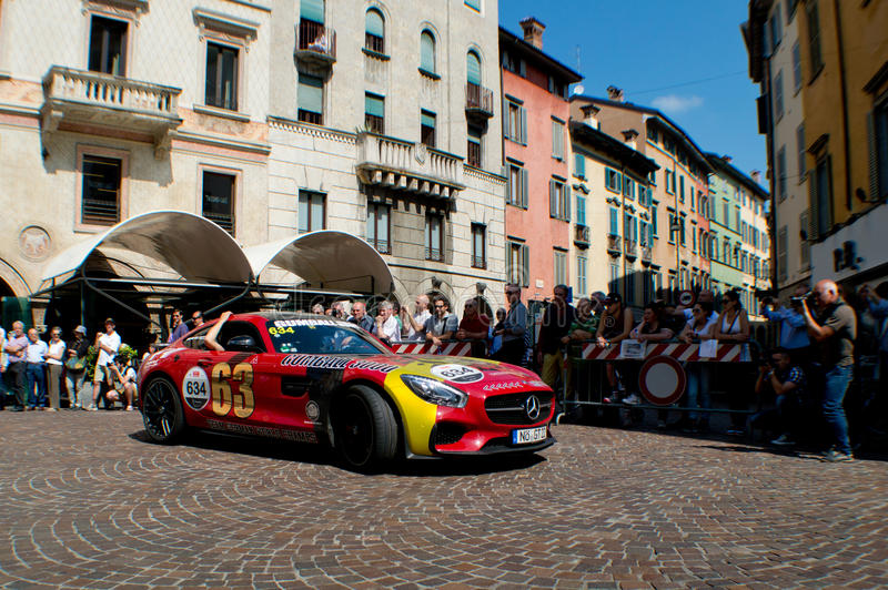 Gumball Mercedes AMG GT at Mille Miglia 2015 stock image