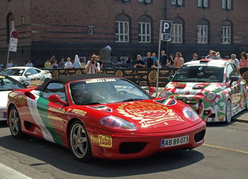 Gumball 3000 początków w Copenhagen Denmark fotografia royalty free