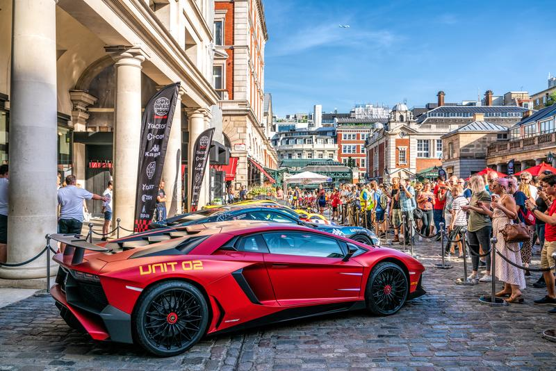 Gumball 3000 Rally Event in London. 4 August 2018 - London, England. Supercars displayed at Covent Garden, London day before the start of the Gumball 3000 rally royalty free stock photography