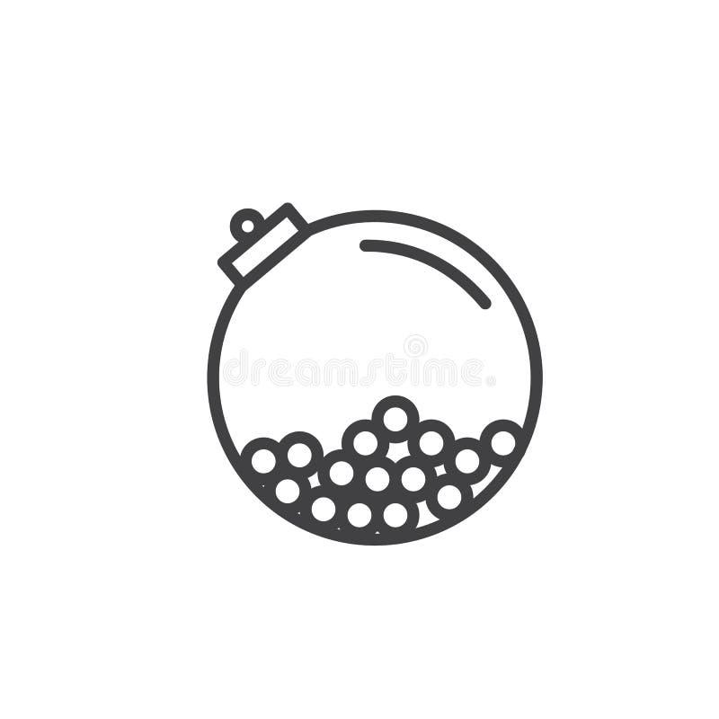Gumballs in een rond de lijnpictogram van de kristalfles royalty-vrije illustratie