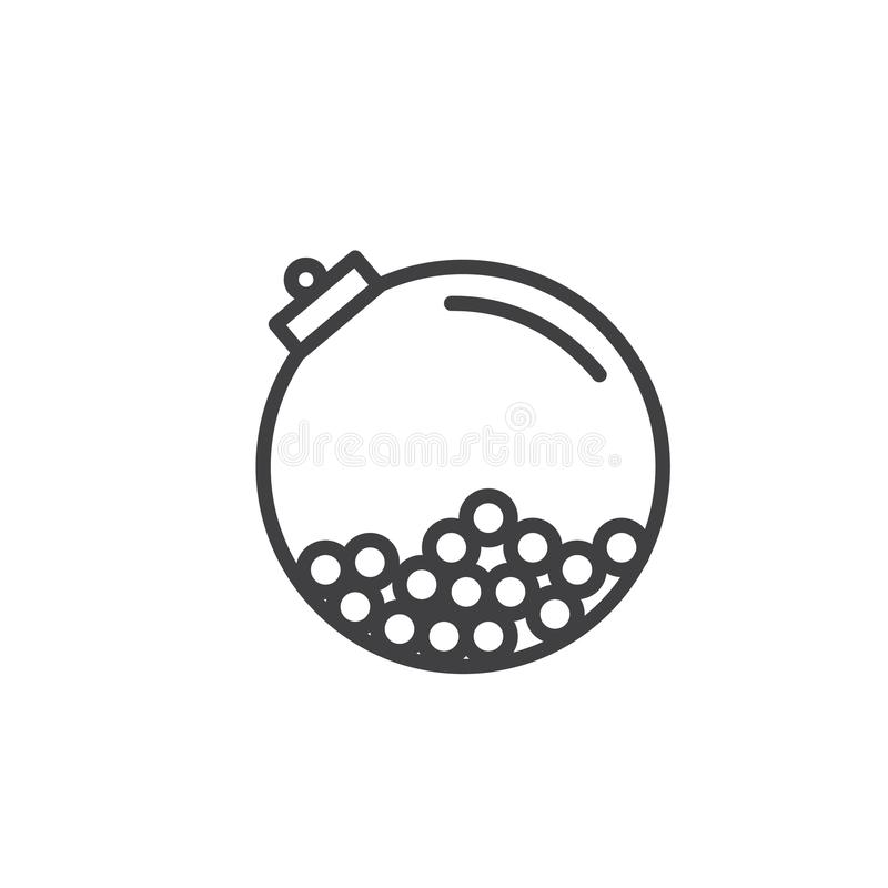 Gumballs in a round crystal bottle line icon royalty free illustration