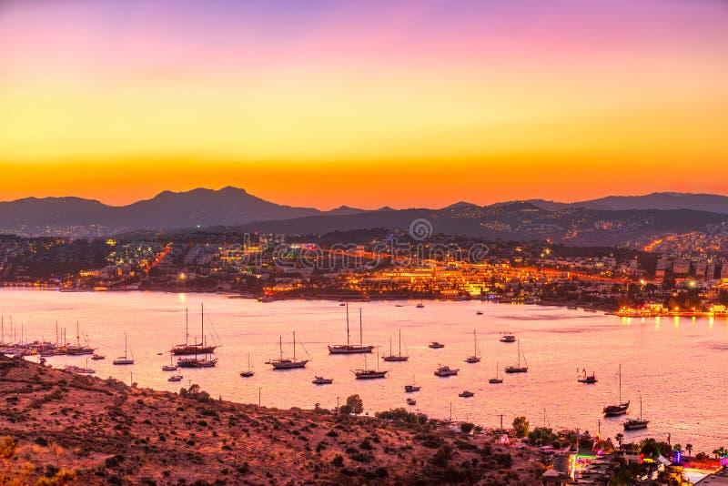 Gumbet, Bodrum, Turkey. View of Gumbet at sunset, Bodrum, Turkey stock photo