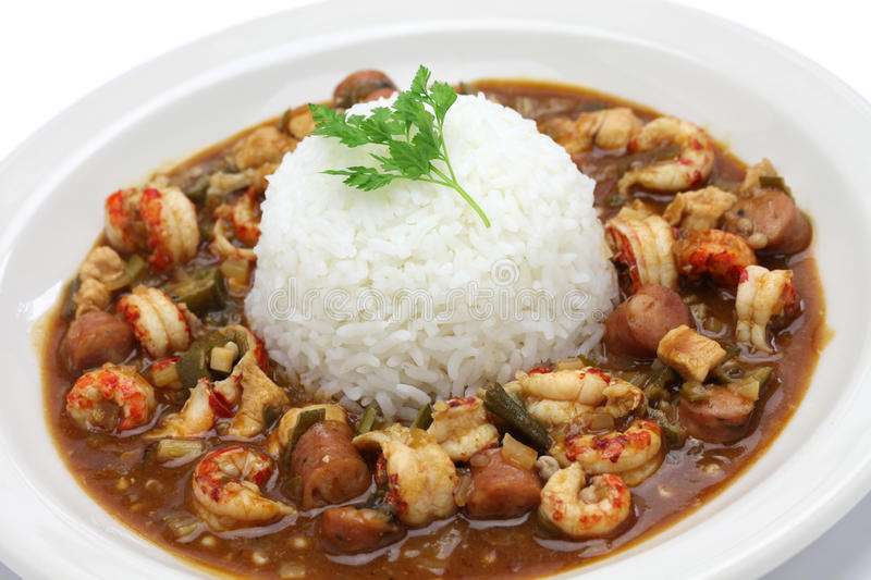 Gumbo with crawfish, chicken & sausage royalty free stock images