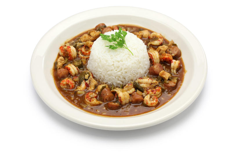 Gumbo with crawfish, chicken & sausage stock photography