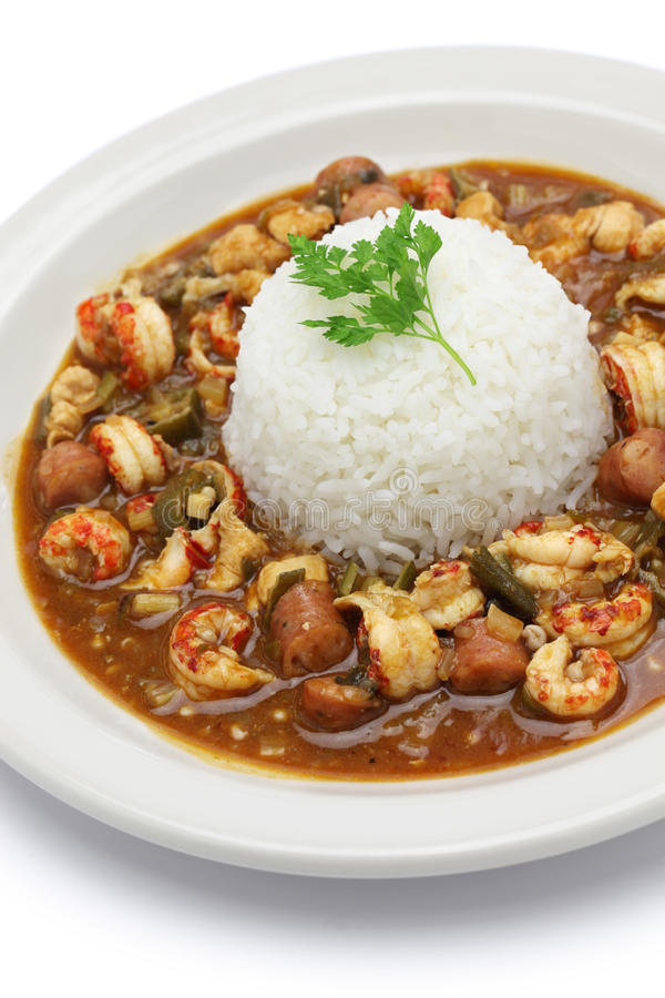 Gumbo with crawfish, chicken & sausage royalty free stock image
