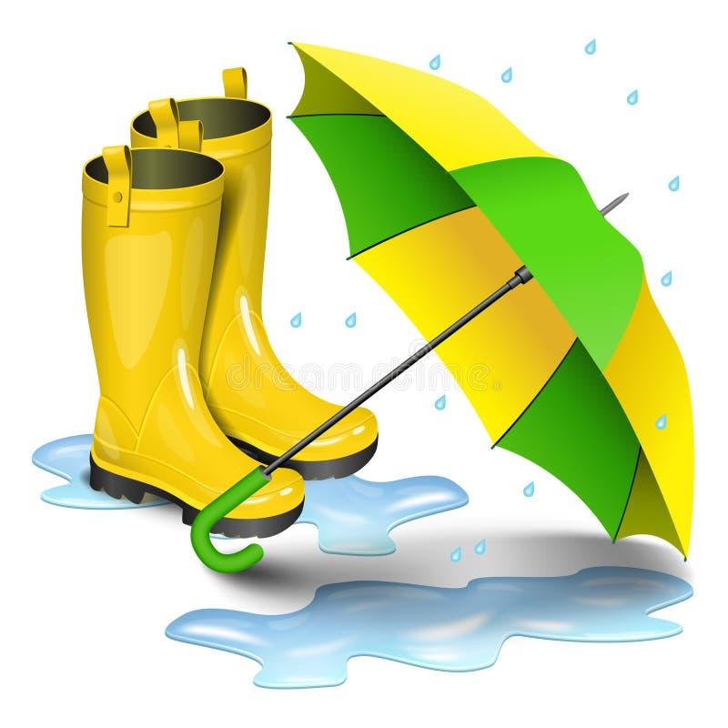 Gumboots和开放伞 在水坑的雨黄色起动 库存例证