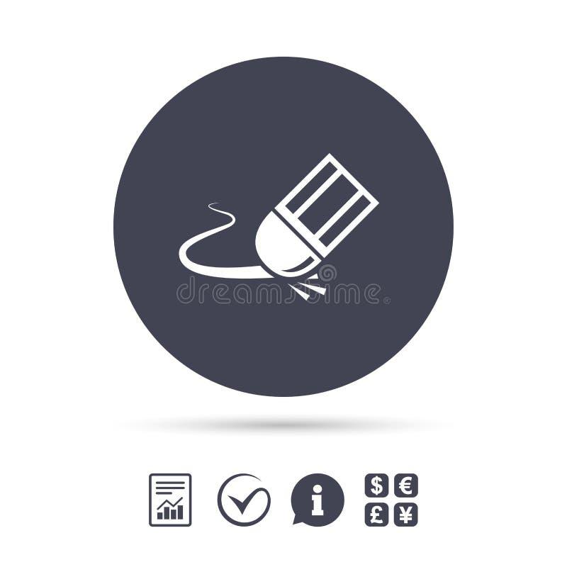 Gumki ikona Wymazuje ołówka kreskowego symbol ilustracji
