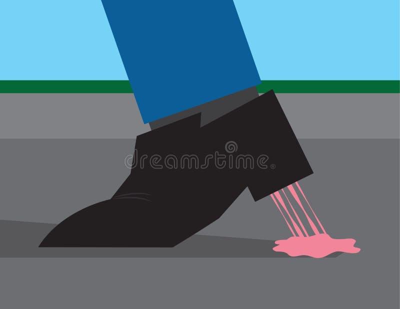 Gummi som klibbas för att sko stock illustrationer