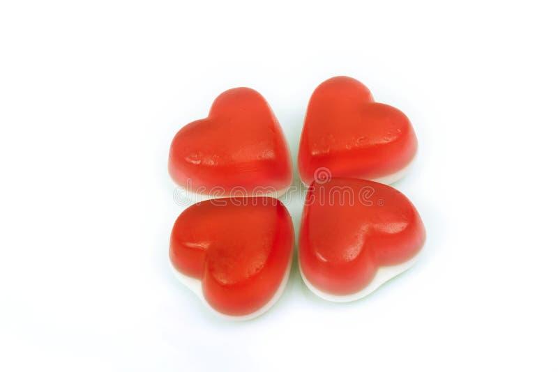 Gummiartige Süßigkeit des roten Herzens stockbild