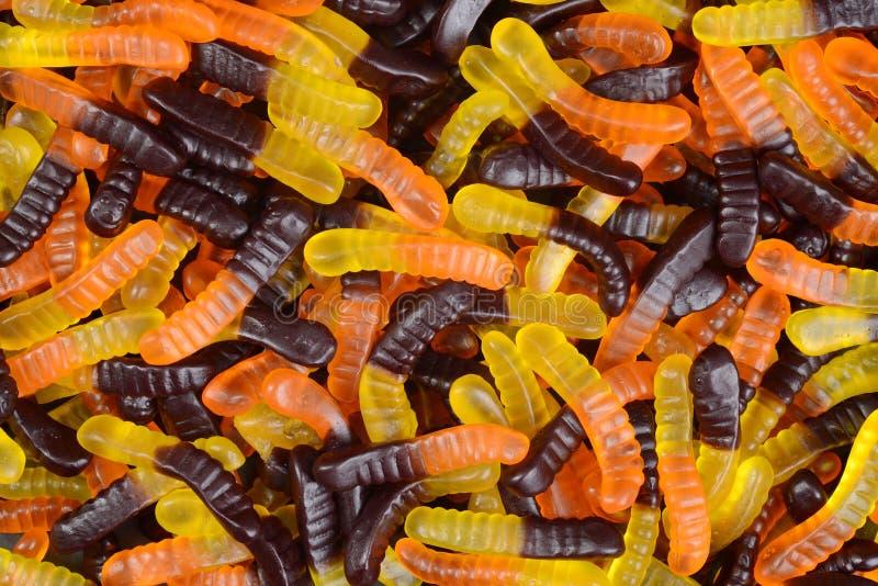Gummiartige Wurmsüßigkeit Halloweens lizenzfreie stockfotografie