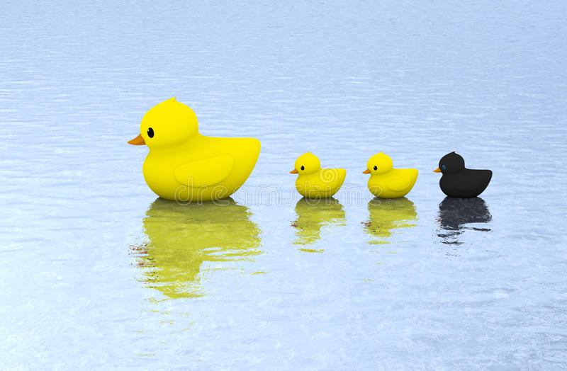 Gummientenfamilienschwimmen auf Wasser lizenzfreie stockfotografie
