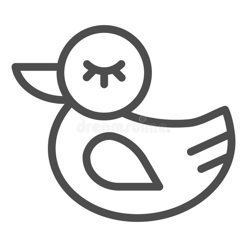 Gummientenlinie Ikone Spielzeugvektorillustration lokalisiert auf Wei? Badspielzeugentwurfs-Artentwurf, bestimmt für Netz und lizenzfreie abbildung
