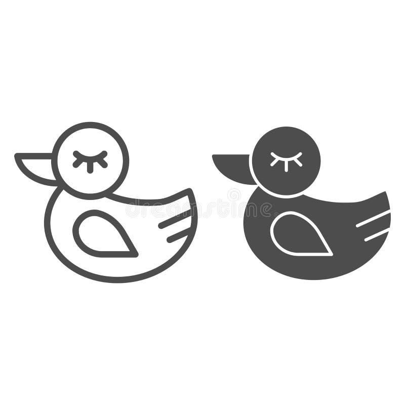 Gummientenlinie und Glyphikone Spielzeugvektorillustration lokalisiert auf Wei? Badspielzeugentwurfs-Artentwurf, entworfen für vektor abbildung