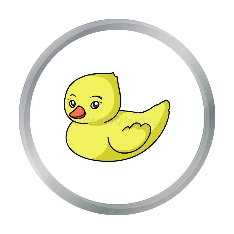 Gummientenspielzeugikone in der Karikaturart lokalisiert auf weißem Hintergrund Baby getragene Symbolvorrat-Vektorillustration lizenzfreie abbildung