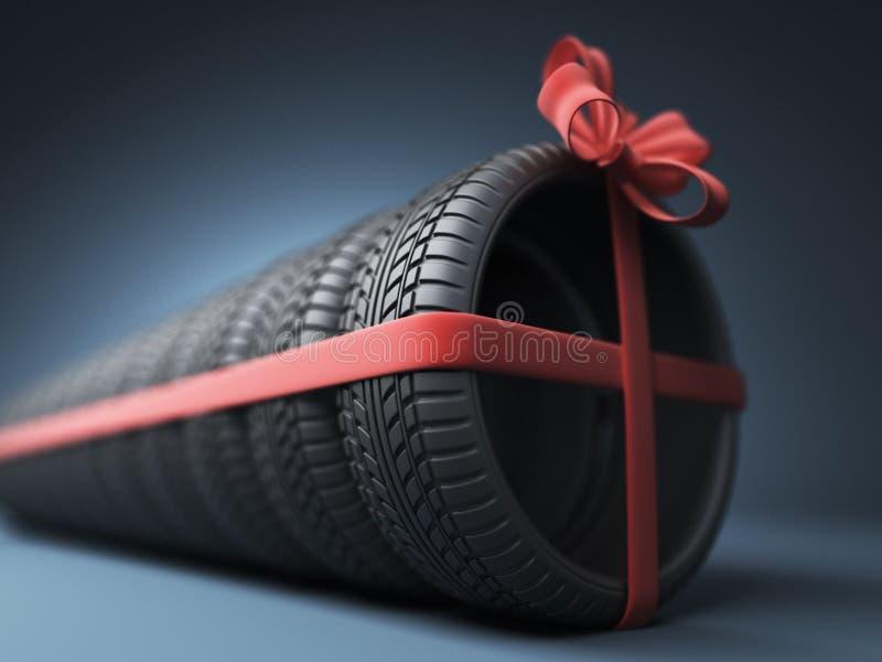 Gummihjul med ett rött band gåva symbol 3D på blått stock illustrationer