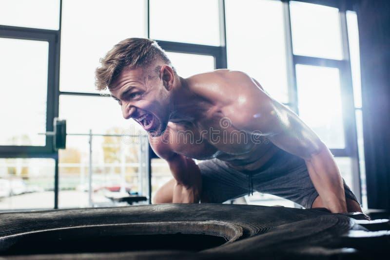 gummihjul och skrika för stilig shirtless idrottsman lyftande royaltyfri bild
