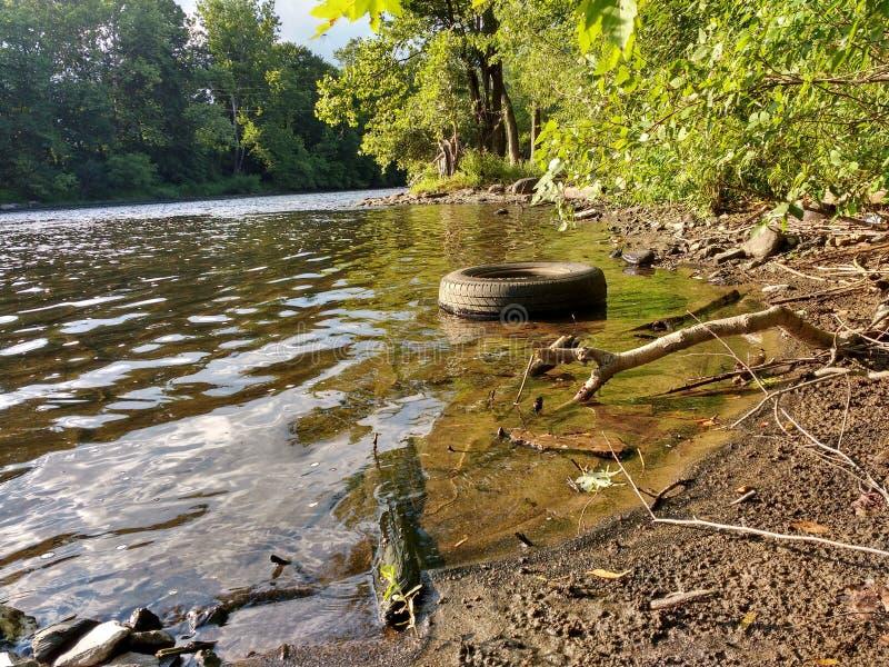 Gummihjul som dumpas olagligt och förorenas en härlig flodstrand arkivfoto