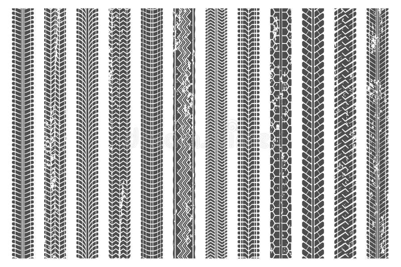 Gummihjuldäckmönsterspår Det smutsiga gummihjulspåret, grungetexturdäckmönster modell och lastbilbilen spårar vektorillustrationu stock illustrationer