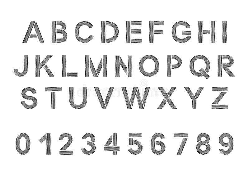 Gummihjuldäckmönsterstilsort Gummihjulet spårar alfabet stock illustrationer