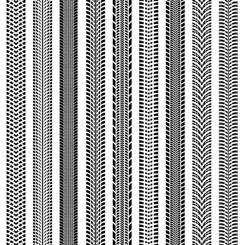 Gummihjulet spårar den stora sömlösa samlingsvektoruppsättningen stock illustrationer