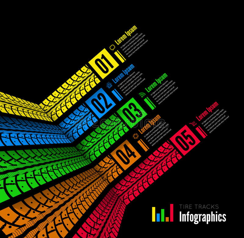 Gummihjulet spårar infographicsbakgrund vektor illustrationer