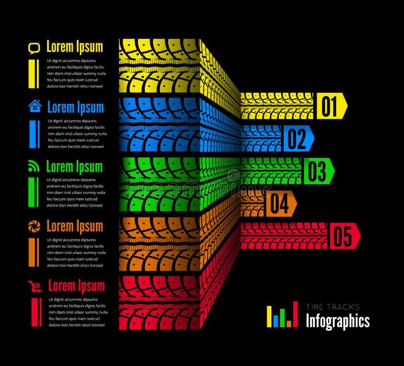 Gummihjulet spårar infographicsbakgrund royaltyfri illustrationer