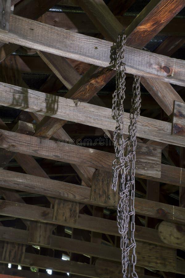 Gummihjulkedjor som hänger från taksparrar royaltyfria bilder