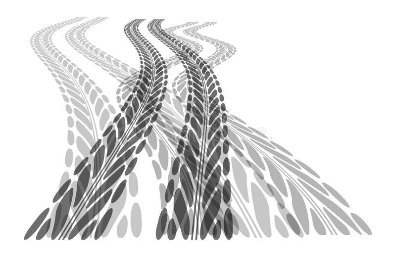 Gummihjulspårbakgrund stock illustrationer