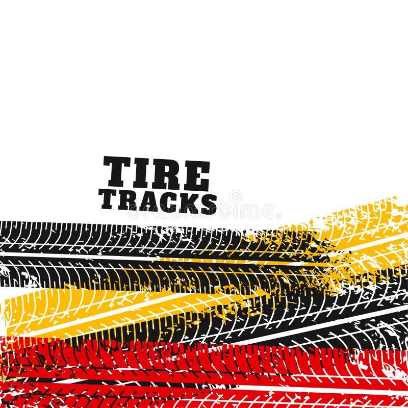 Gummihjulspåret markerar backgorund i olika färger royaltyfri illustrationer
